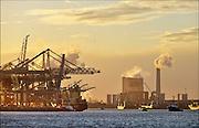 Nederland, the Netherlands, Rotterdam, 3-3-2015 De electriciteitscentrale, elektriciteitscentrale, van Eon, E-on, op de Maasvlakte. Kolengestookte centrale. Links de deltaterminal, containerterminal, van ECT powerplant of Eon and on the left containerterminal.FOTO: FLIP FRANSSEN/ HOLLANDSE HOOGTE