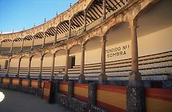 Interior of Bullring; Ronda; Andalucia; showing numbered seats,