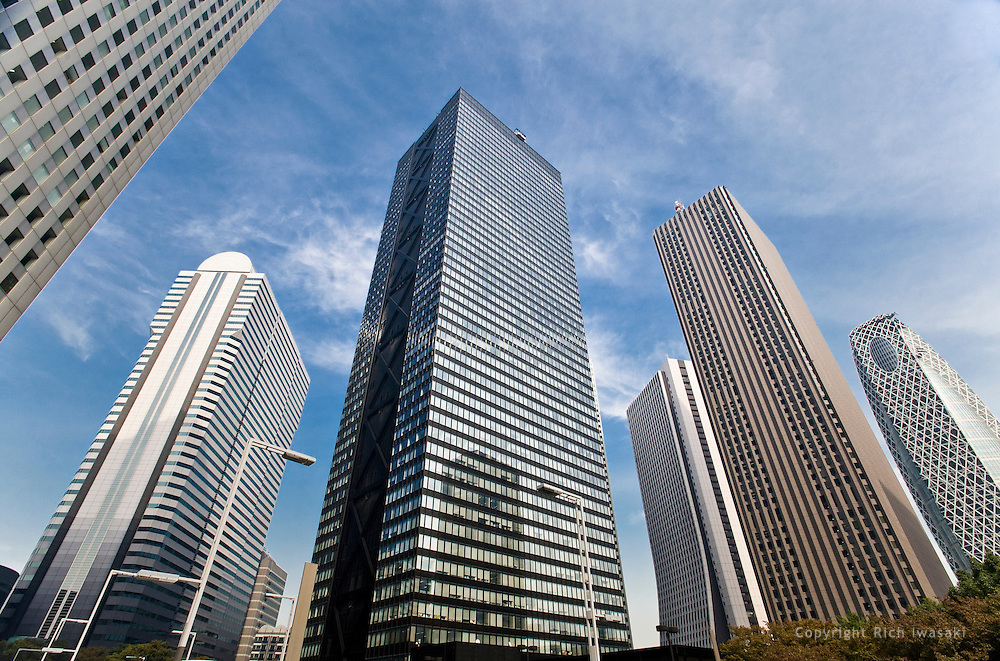 Low angle view of skyscrapers in the Shinjuku district, Tokyo, Japan