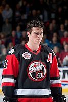 KELOWNA, CANADA - NOVEMBER 9: Haydn Fleury #4 of Team WHL lines up against the Team Russia on November 9, 2015 during game 1 of the Canada Russia Super Series at Prospera Place in Kelowna, British Columbia, Canada.  (Photo by Marissa Baecker/Western Hockey League)  *** Local Caption *** Haydn Fleury;