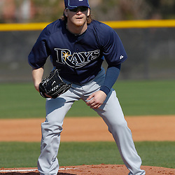 February 20, 2011; Port Charlotte, FL, USA; Tampa Bay Rays relief pitcher J.P. Howell (39) during spring training at Charlotte Sports Park.  Mandatory Credit: Derick E. Hingle