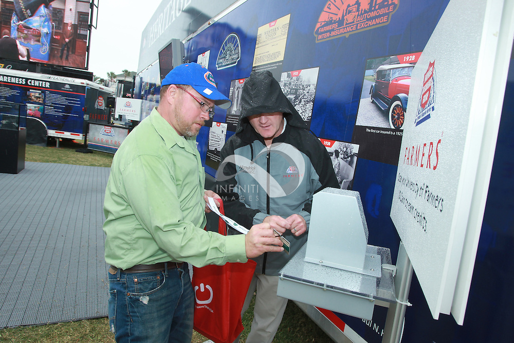 Pictures of Farmers Insurance activation at NASCAR Daytona 500 in Daytona Beach, Florida. .Auto racing corporate event photography by Michael Hickey, Infiniti Images/JMI