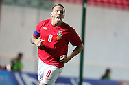 Craig Bellamy of Wales celebrates after he scores the 5th goal.  friendly international match, Wales v Luxembourg at the Parc y Scarlets stadium in  Llanelli on Wed 11th August 2010. pic by Andrew Orchard, Andrew Orchard sports photography,