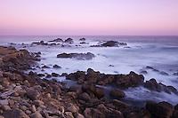 Sunset on rugged coastline at Salt Point state park, Sonoma county, California