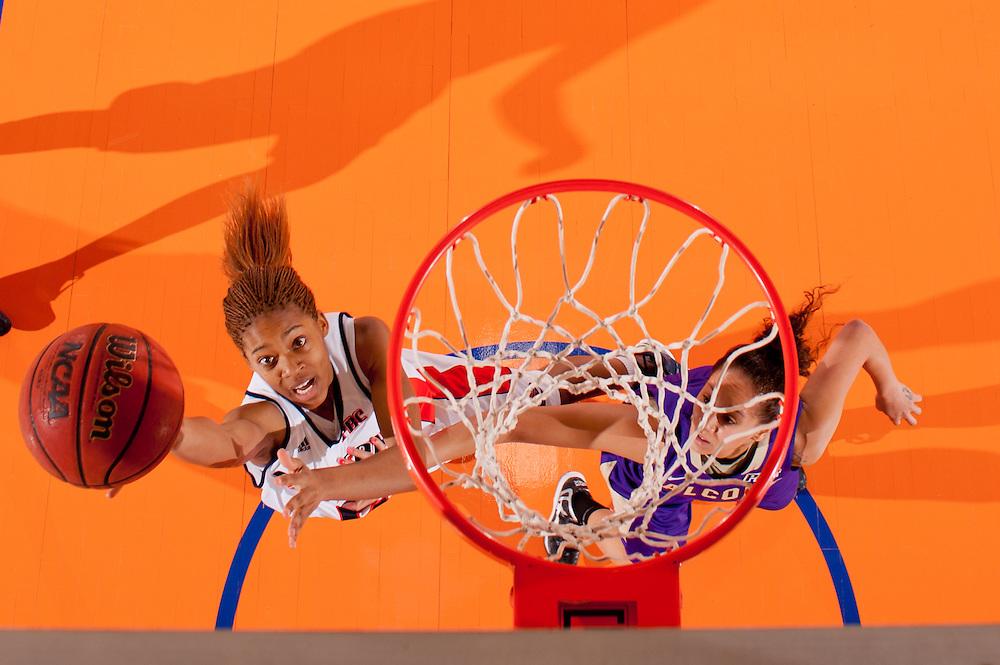 Feb. 09, 2013; Morrow, GA, USA; Clayton State women's basketball player Jessica Covington against Montevallo at CSU. Photo by Kevin Liles/kdlphoto.com