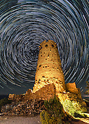 Star trails at the Desert View Watchtower, Desert View Point, south rim of the Grand Canyon