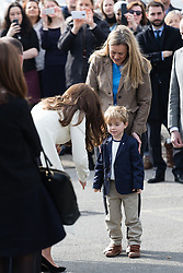 © Licensed to London News Pictures. 12/03/2015. London, UK. HRH the Duchess of Cambridge greets a boy at Ealing Film Studios in west London today to celebrate the success of the award-winning ITV show Downton Abbey. Photo credit : Vickie Flores/LNP