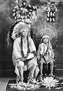 9305-B7363.  Portrait of Tom Frank Yallup and son Douglas Yallup photographed in Markham's Studio in The Dalles, 1928