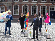 NO FEE PICTURES<br /> 22/5/20 Eddie McGuinness (left), Mr Pride, Vanessa O'Connell, Grand Marshall representative, Jed Dowling, CEO Dublin LGBTQ+ Pride Parade and David Gough, All Ireland Referee at the launch of the Digital Dublin Pride Festival tomorrow, May 22nd, to coincide with the 5th anniversary of Ireland voting Yes to Marriage Equality. Even though this year we will have a Digital Festival and a Virtual Parade, by working together and all taking part, we will still achieve the same sense of community, solidarity and empowerment that Pride gives. Further Information contact Eddie McGuinness 0863884242 Picture: Arthur Carron.