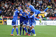 Anthony Pilkington (13 in centre) celebrates with his teammates after he scores his teams 3rd and match winning goal. . EFL Skybet championship match, Bristol City v Cardiff City at the Ashton Gate Stadium  in Bristol, Avon on Saturday 14th January 2017.<br /> pic by Carl Robertson, Andrew Orchard sports photography.