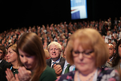 © Licensed to London News Pictures . 03/10/2017. Manchester, UK. Foreign Secretary BORIS JOHNSON ahead of his speech on day three of the Conservative Party Conference at the Manchester Central Convention Centre . Photo credit: Joel Goodman/LNP