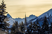 Sunset at the Annual Meeting 2018 of the World Economic Forum in Davos, January 24, 2018.<br /> Copyright by World Economic Forum / Greg Beadle