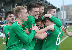 Republic of Ireland's Reece Grego-Cox celebrates scoring his hat-trick during the 2019 UEFA Under 21 Qualifying Group Five match at the Tallaght Stadium, Dublin.