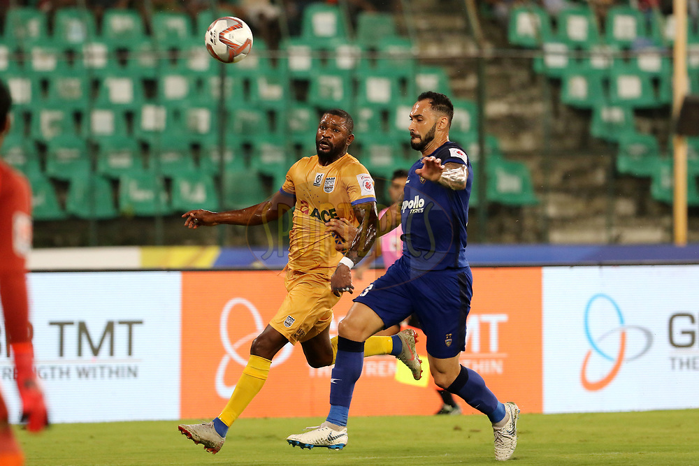 Arnold Issoko of Mumbai City FC and Eli Sabia of Chennaiyin FC in action during match 27 of the Hero Indian Super League 2018 ( ISL ) between Chennaiyin FC and Mumbai City FC  held at the Jawaharlal Nehru Stadium, Chennai, India on the 3rd November 2018<br /> <br /> Photo by: Vipin Pawar /SPORTZPICS for ISL