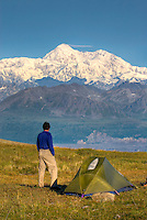 Denali (Mount McKinley) 6,193.6 metres (20,320 ft) from backcountry camp on Kesugi Ridge, Denali State Park Alaska