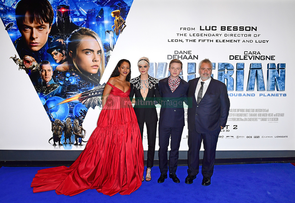 (left-right) Rihanna, Cara Delevingne, Dane DeHaan and Luc Besson attending the European premiere of Valerian and the City of a Thousand Planets at Cineworld in Leicester Square, London.