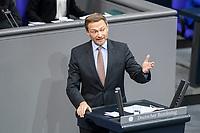 11 FEB 2021, BERLIN/GERMANY:<br /> Christian Lindner, MdB, FDP Fraktionsvorsitzender, haelt eine Rede, Debatte nach der  Regierungserklaerung der Bundeskanzlerin zur Bewaeltigung der Corvid-19-Pandemie, Plenum, Reichstagsgebaeude, Deutscher Bundestag<br /> IMAGE: 20210211-01-083<br /> KEYWORDS: Corona