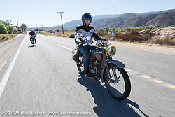 Denis Sharon riding his 1916 Harley-Davidson on the last day of the Motorcycle Cannonball Race of the Century. Stage-15 ride from Palm Desert, CA to Carlsbad, CA. USA. Sunday September 25, 2016. Photography ©2016 Michael Lichter.