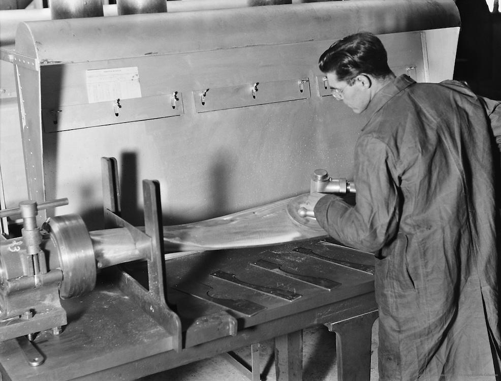 Working on Propeller, De Havilland Aircraft Factory, England, 1935