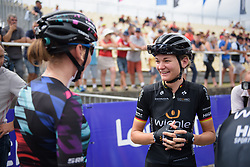 Claudia Lichtenberg chats to Brennauer at Grand Prix de Plouay Lorient Agglomération a 121.5 km road race in Plouay, France on August 26, 2017. (Photo by Sean Robinson/Velofocus)