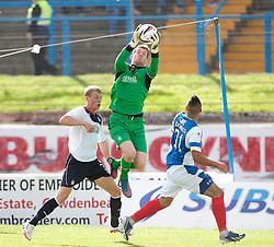 Falkirk's keeper Michael McGovern over Cowdenbeath's Kane Hemmings.<br /> Half time; Cowdenbeath v Falkirk, 14/9/2013.<br /> ©Michael Schofield.