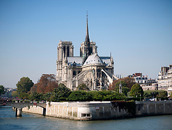 River Seine with Notre Dame Cathedral in Paris France