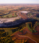Aerial photograph of sunrise over rural southwest Wisconsin.