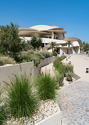 Landscaping at the new National Museum of Qatar in Doha , Qatar. Architect Jean Nouvel.