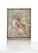 Roman Nero Period fresco wall painting of Perseus and Andromeda, from a house in the Insula Occidentalis at Pompeii , inv 9058 , Naples National Archaeological Museum , white background .<br /> If you prefer to buy from our ALAMY PHOTO LIBRARY  Collection visit : https://www.alamy.com/portfolio/paul-williams-funkystock - Scroll down and type - Roman Fresco Naples  - into LOWER search box. {TIP - Refine search by adding a background colour as well}.<br /> <br /> Visit our ROMAN ART & HISTORIC SITES PHOTO COLLECTIONS for more photos to download or buy as wall art prints https://funkystock.photoshelter.com/gallery-collection/The-Romans-Art-Artefacts-Antiquities-Historic-Sites-Pictures-Images/C0000r2uLJJo9_s0