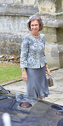 Queen Sophia of Spain at the wedding of the Hon.Alexandra Knatchbull to Thomas Hooper held at Romsey Abbey, Romsey, Hampshire on 25th June 2016