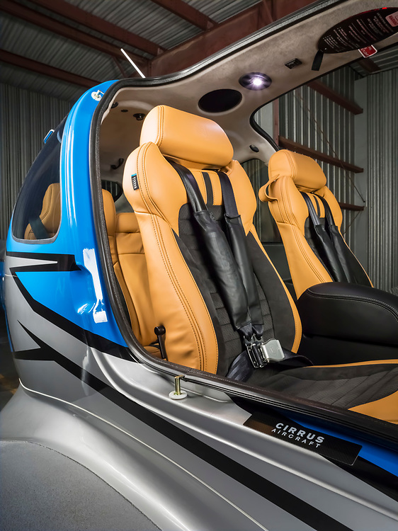 Leather cockpit seating of a Cirrus SR22T GTS.  <br /> <br /> Created by aviation photographer John Slemp of Aerographs Aviation Photography. Clients include Goodyear Aviation Tires, Phillips 66 Aviation Fuels, Smithsonian Air & Space magazine, and The Lindbergh Foundation.  Specialising in high end commercial aviation photography and the supply of aviation stock photography for advertising, corporate, and editorial use.
