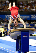 Paul Hamm of the United States Gymnastics team scores a 9.56 on his vault exercise down in Anaheim, CA on August 19, 2003.