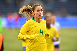 February 27, 2019 - Chester, PA, U.S. - CHESTER, PA - FEBRUARY 27: Brazil Defender Erika (4) runs toward the locker room after the first half during the She Believes Cup game between Brazil and England on February 27, 2019 at Talen Energy Stadium in Chester, PA. (Photo by Kyle Ross/Icon Sportswire) (Credit Image: © Kyle Ross/Icon SMI via ZUMA Press)