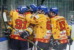 Players of Asiago celebrate after scoring second goal for Asiago during first leg Ice Hockey game between HK SZ Olimpija Ljubljana and Asiago Hockey in Final of Alps Hockey League 2020/21, on April 20, 2021 in Hala Tivoli, Ljubljana, Slovenia. Photo by Vid Ponikvar / Sportida