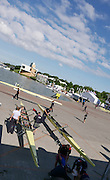 Poznan. Poland. GBRowing crews rigging before the morning training session at the   FISA 2015 European Rowing Championships. Venue Lake Malta. 28.05.2015. [Mandatory Credit: Peter Spurrier/Intersport-images.com]