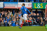 Portsmouth Forward, Brett Pitman (8) celebrates after scoring a goal to make it 4-1 during the EFL Sky Bet League 1 match between Portsmouth and Fleetwood Town at Fratton Park, Portsmouth, England on 16 September 2017. Photo by Adam Rivers.