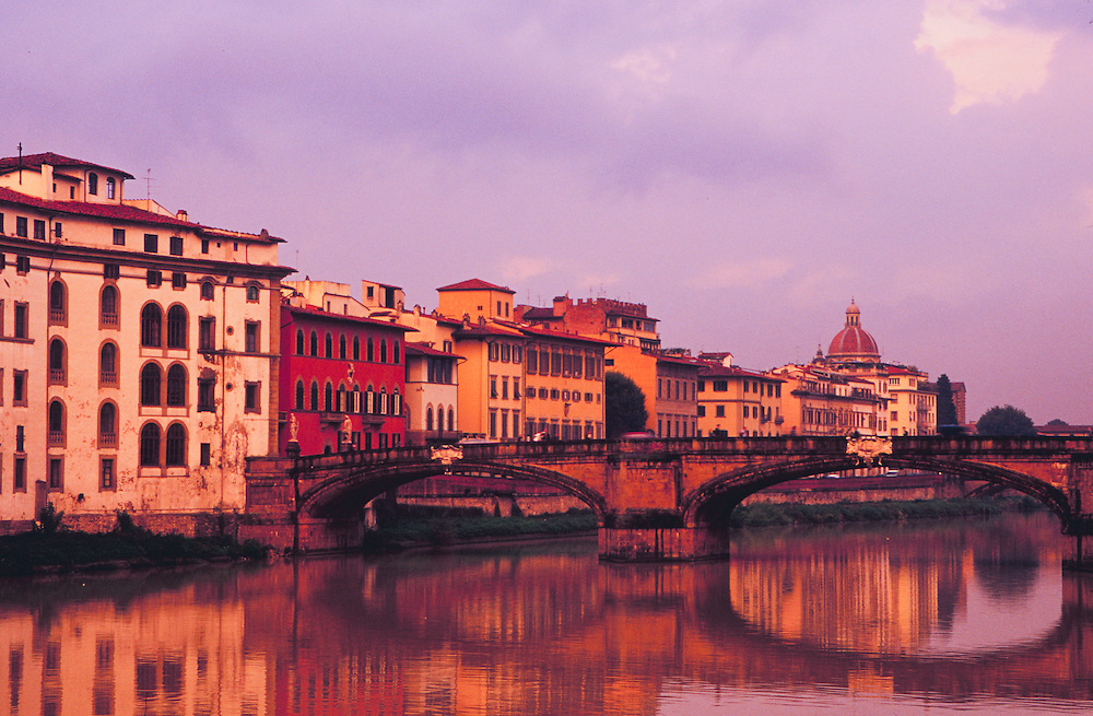 Europe, Italy, Tuscany, Florence, colorful buildings reflected in Arno River