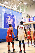 NORTH AUGUSTA, SC. July 10, 2019. Two players at Nike Peach Jam in North Augusta, SC. <br /> NOTE TO USER: Mandatory Copyright Notice: Photo by Alex Woodhouse / Jon Lopez Creative / Nike