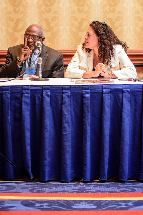 """Washington, D.C. - August 05, 2016: Panelists Dr. Robert Bullard, Dean of the School of Public Affairs at Texas Southern University, and Lisa Garcia, Vice President of Healthy Communities at Earthjustice answer audience questions at the Earthjustice hosted """"Environmental Justice 101"""" event during the National Association of Black Journalists/National Association of Hispanic Journalists event Friday Aug. 5., 2016 from 2:45-4:15 pm at the Washington Marriott Wardman Park. <br /> <br /> <br /> Panelists are: Moderator, Darryl D. Fears, Reporter, The Washington Post, Martha Dina Arguello, Executive Director of Physicians for Social Responsibility, Dr. Beverly Wright, Executive director of Dillard University's Deep South Center for Environmental Justice, Dr. Robert Bullard, Dean of the School of Public Affairs at Texas Southern University, and Lisa Garcia, Vice President of Healthy Communities at Earthjustice.<br /> <br /> CREDIT: Matt Roth"""