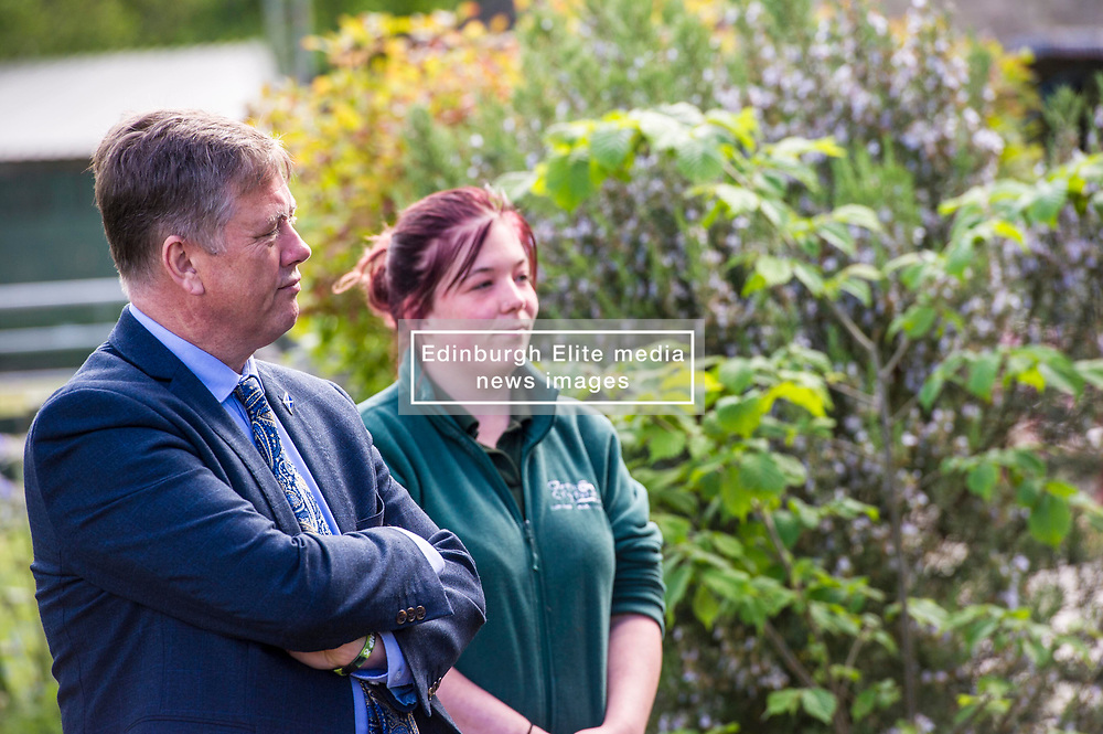 Pictured: Keith Brown and Maia Gordon<br /> <br /> Cabinet Secretary for Economy, Jobs & Fair Work Keith Brown visited Gorgie City Farm today  to mark their accreditation as the 800th Living Wage employer in Scotland. Mr Brown met Josiah Lockhart, CEO and undertook a short tour of the farm, celebrating their accreditation and promoting the Living Wage more generally. The Scottish Government has set a target of reaching 1,000 Scottish-based Living Wage Accredited Employers by autumn 2017. While at the farm Mr Brown met Maia Gordon, Kirsty McGoff (17) and Zoe White (18), who have benefited from the living wage, and George Ellis, chair of the farm's board of directors<br /> Ger Harley   EEm 18 May 2017