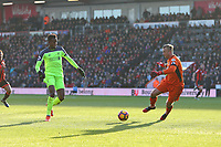 Football - 2016 / 2017 Premier League - AFC Bournemouth vs. Liverpool<br /> <br /> Divock Origi of Liverpool knocks the ball past the out rushing Bournemouth goal keeper Artur Boruc to score from a tight angle at Dean Court (The Vitality Stadium) Bournemouth<br /> <br /> COLORSPORT/SHAUN BOGGUST