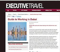 Executive Travel magazine; Skyline of Dubai