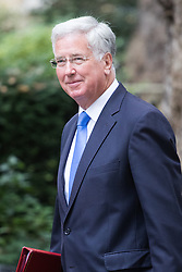 Downing Street, London, September 9th 2016.  Defence Secretary Michael Fallon arrives at Downing street for the weekly cabinet meeting following the Parliamentary summer recess.