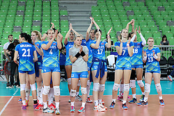 Players of Slovenia greets after volleyball match between Slovenia and Slovakia in CEV European League Women on June 22, 2016 in Stozice, Ljubljana, Slovenia. Photo by Morgan Kristan / Sportida