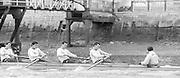 London. United Kingdom.  1987 Pre Fixture, Varsity Boat Race. National Squad vs Cambridge University BC on the Championship Course Mortlake to Putney. River Thames.  Saturday 21.03.1987<br /> <br /> [Mandatory Credit: Peter SPURRIER/Intersport images]<br /> <br /> left to right. Stephen PEEL [PRESIDENT] Jim PEW, Jim GARMAN, Paddy BROUGHTON . Stephen PEEL [PRESIDENT] Jim PEW, Jim GARMAN, Paddy BROUGHTON and Cox. Julian WOLFSON 19870321 Pre Boat Race fixture, National Squard vs Cambridge UBC, London UK