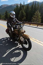 Steve DeCosa riding his 1927 Harley-Davidson JD on Colorado highway 91 to Leadville during Stage 10 (278 miles) of the Motorcycle Cannonball Cross-Country Endurance Run, which on this day ran from Golden to Grand Junction, CO., USA. Monday, September 15, 2014.  Photography ©2014 Michael Lichter.