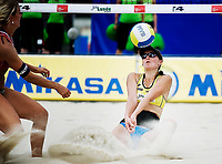 29. Juni 2009 , VM Sandvolleyball , beachvolleyball , stavanger , kvinner , Norge - Ukraina ,  Kathrine Maaseide ,  Norge , Galyna Osheyko , Ukraina , Foto: Tommy Ellingsen