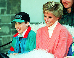 """Embargoed to 0001 Monday August 21 File photo dated 27/3/1994 of Prince William with his mother, Diana, Princess of Wales. Diana, Princess of Wales was a woman whose warmth, compassion and empathy for those she met earned her the description the """"people's princess""""."""