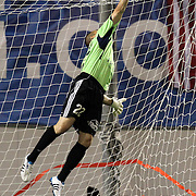 Richmond Goalkeeper Ronnie Pascale leaps to make the save during a United Soccer League Pro soccer match between the Richmond Kickers and the Orlando City Lions at the Florida Citrus Bowl on May 25, 2011 in Orlando, Florida.  (AP Photo/Alex Menendez)