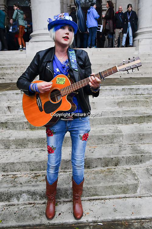 """Madeleine Kay is a singer and song-writer preforms """"We can be te change"""" at St John Smith Square ahead of the European Paliament Election on 8 May 2019, London, UK."""
